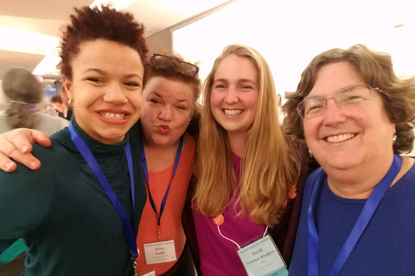 Advocacy Team members and mother-daughter duos—15-year-old Elinor with Delcy Steffy, and Sarah and Julia Freeman-Woolpert sharing in community during Annual Meeting 2018