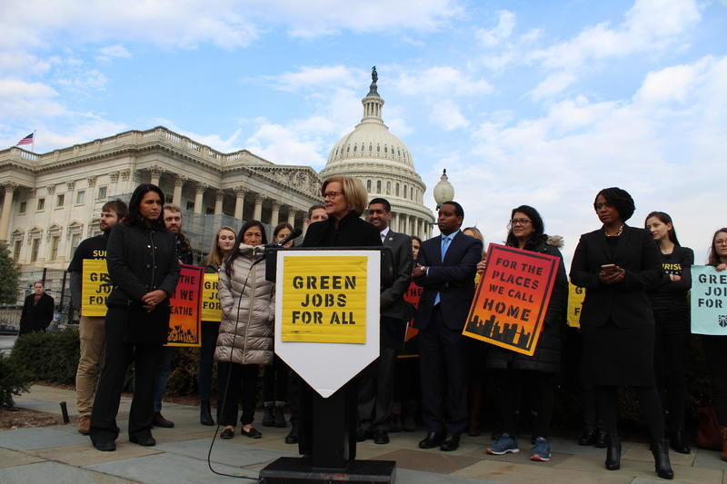Press conference for Green New Deal in front of U.S. Capitol