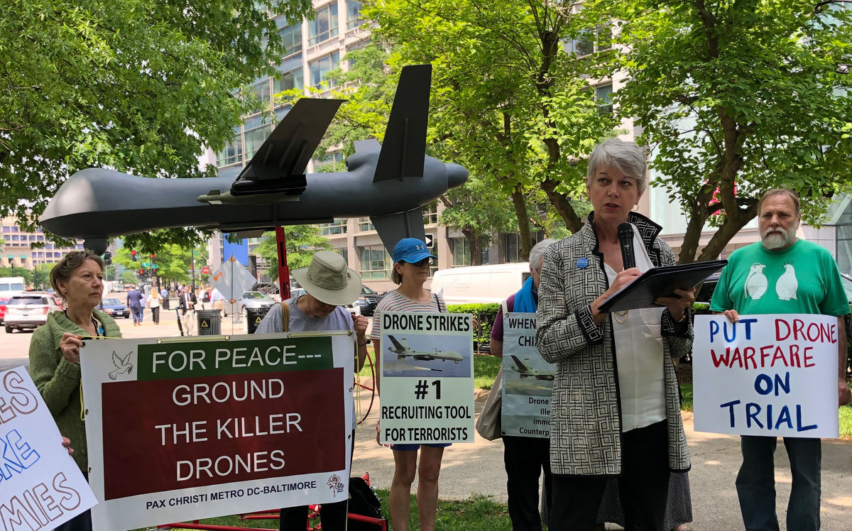 Diane Randall speaks at faith rally to end drone warfare. May 3, 2019