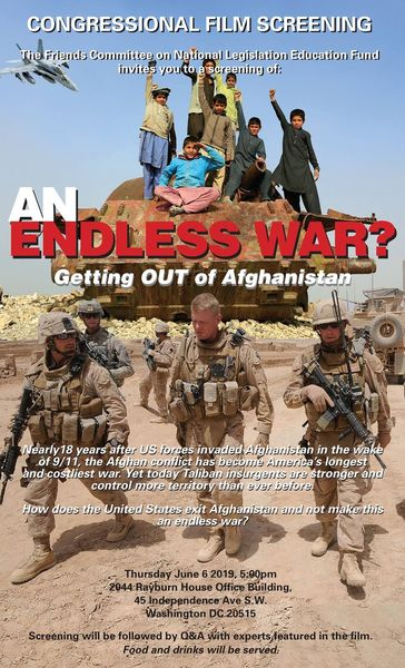 """""""An Endless War? Getting Out of Afghanistan,"""" movie screening poster."""