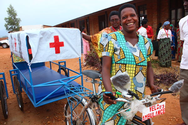 Woman with ambulance in Bujumbura, Burundi