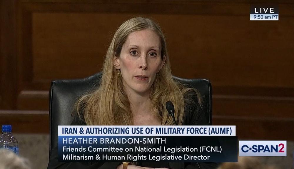 Heather Brandon-Smith testifying on AUMF on CSPAN. August 7, 2019.