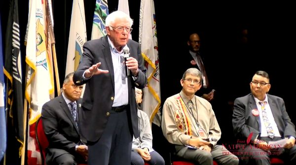Bernie Sanders speaking at Native American Presidential Forum
