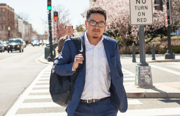 Sergio Mata-Cisneros crossing the street at Spring Lobby Weekend 2019