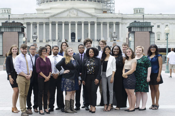 Mimosa Thomas with FCNL's Advocacy Corps in front of U.S. Capitol