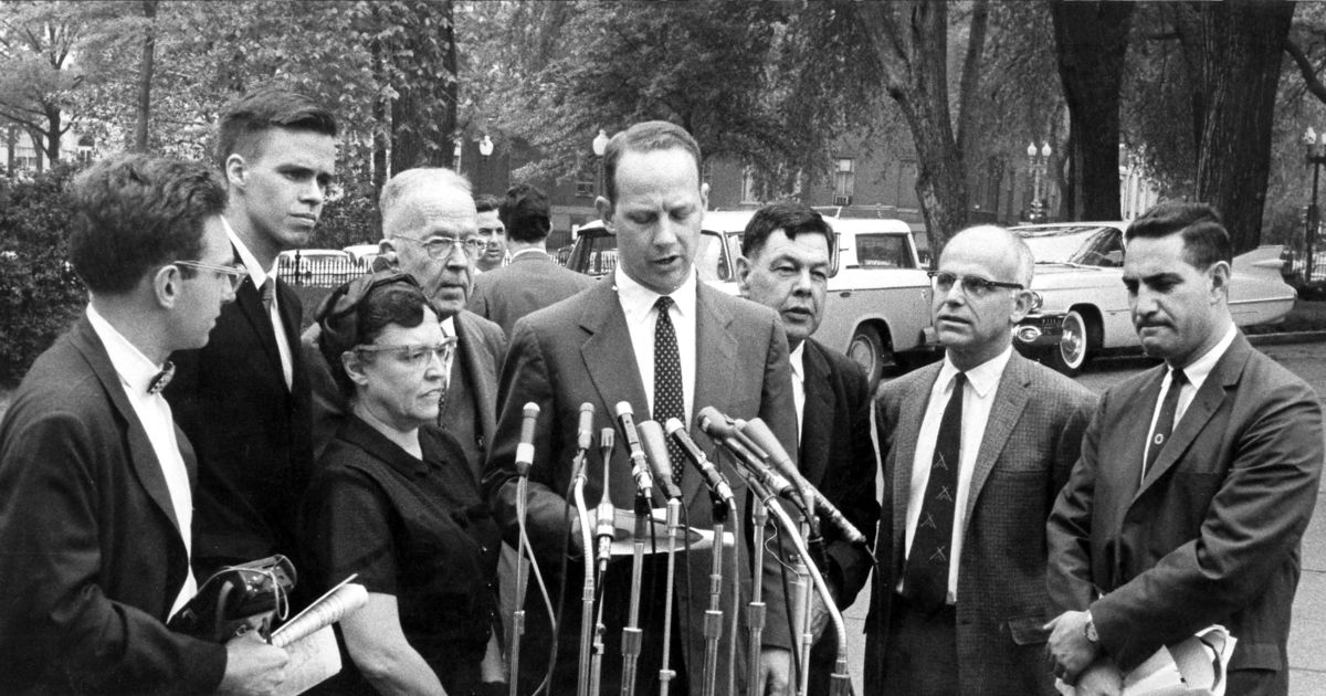 Press conference with Quakers following meeting with Pres. Kennedy