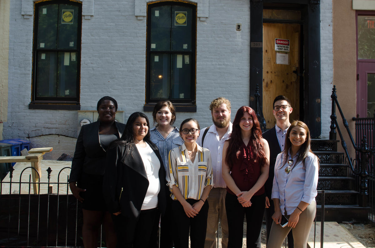 Advocacy Corps in front of the Quaker Welcome Center