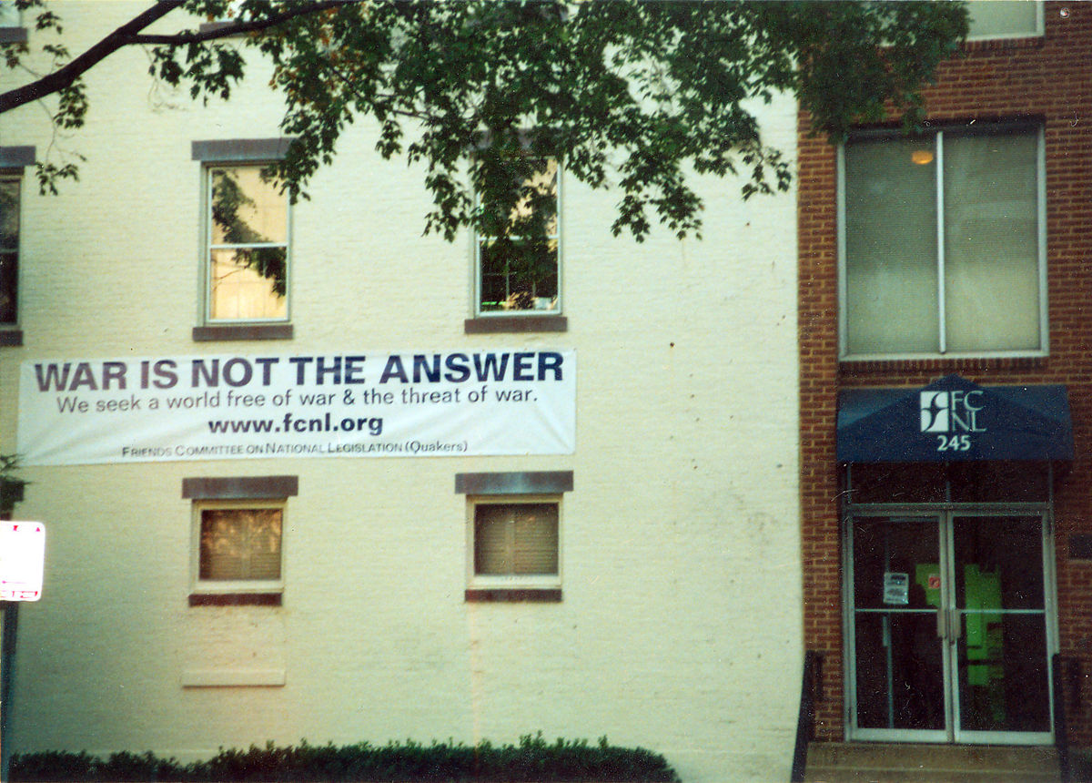 War is not the answer sign on FCNL's building