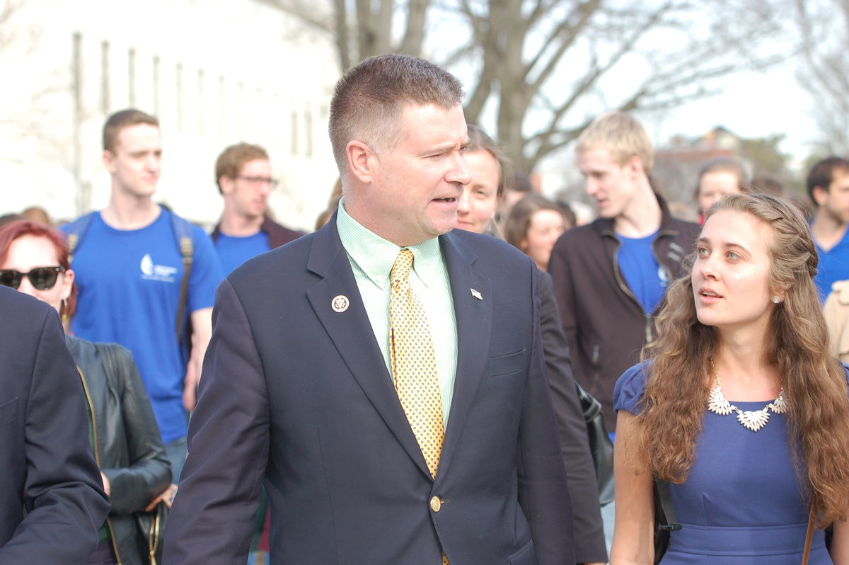 Rep. Chris Gibson talks with climate lobbyist Emily Wirzba