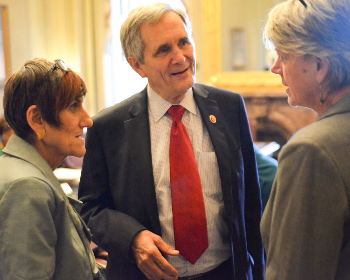 Reps. Rosa Delauro and Lloyd Doggett with Diane Randall.