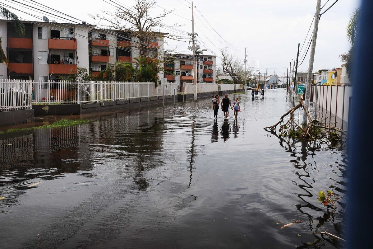 Water-filled street as a result of Hurricane Maria.