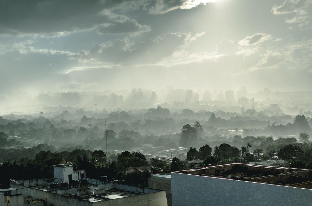 Smoggy sky over a city