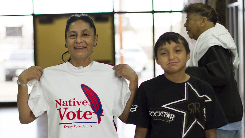 Native voters at the polls.