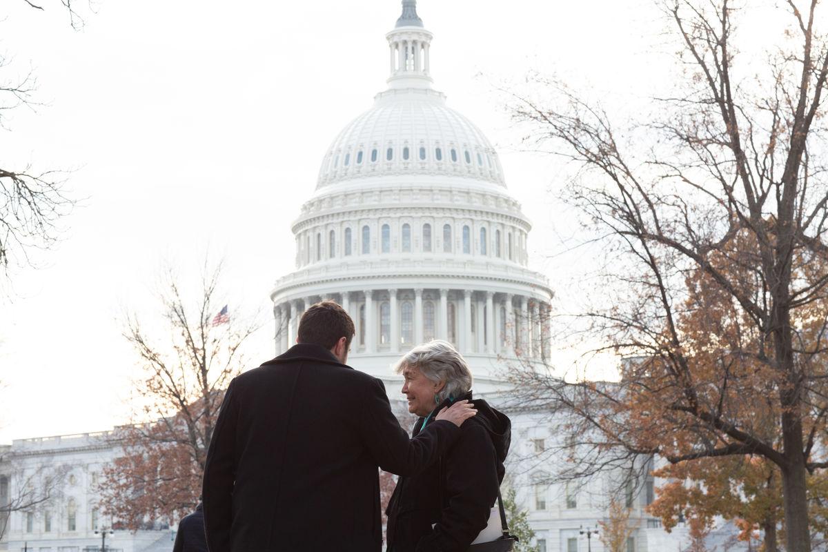Chris Kearns-McCoy and Laurel Kearns at Capitol lobbying at annual meeting 2018