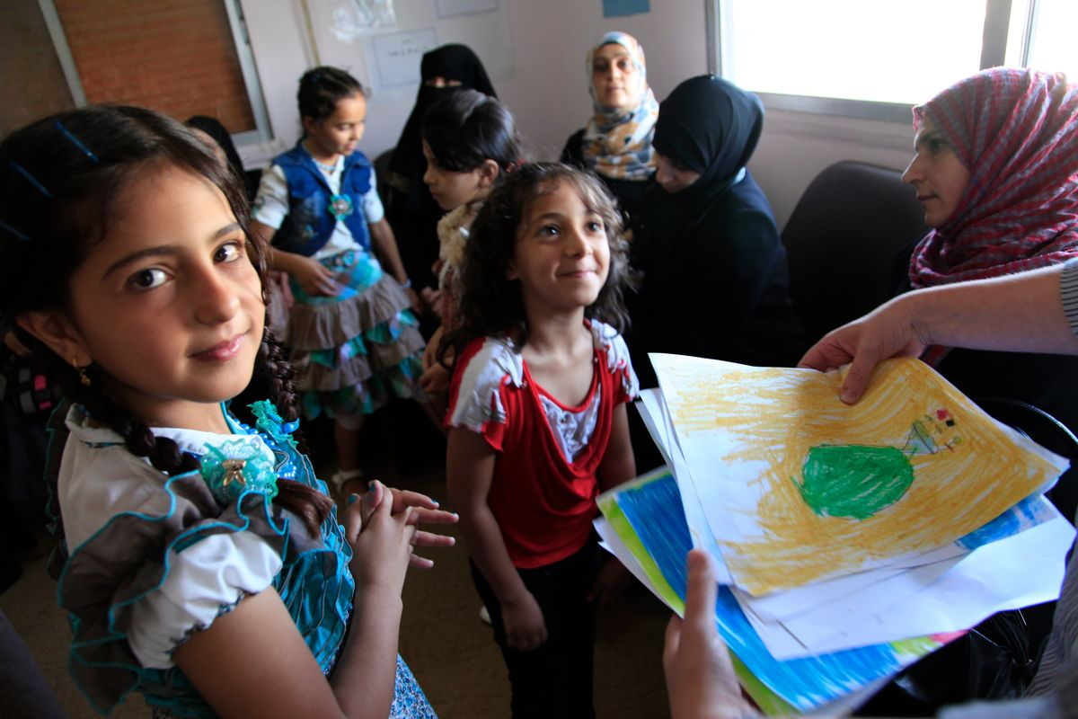 Syrian refugee children in Ramtha, Jordan