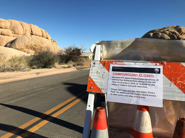 A campground closure notice due to the government shutdown at Joshua Tree National Park in southern California.